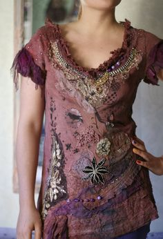 Embroidered and beaded textile art collage shirt