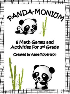 A panda-themed packet of 6 math activities: multiplication, addition, fractions, patterns, directions, and flips/slides/turns