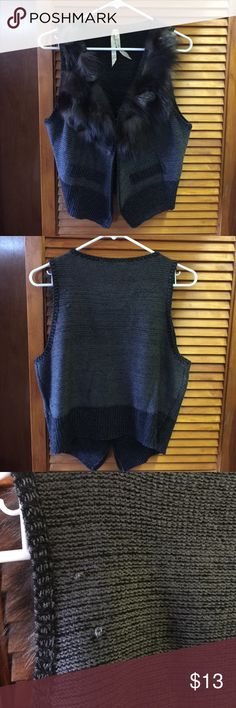 Fur vest Good condition.  Minor snag in fabric on back - see photo. Mystree Sweaters