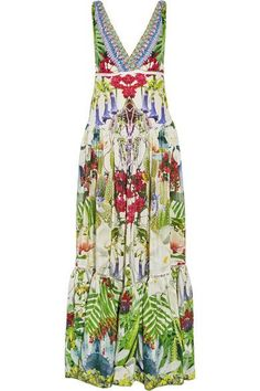Camilla - Exotic Hypnotic Crystal-embellished Silk Crepe De Chine Maxi Dress - Green - UK