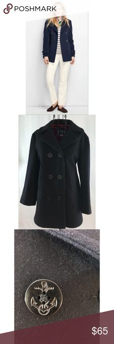 Lands' End Pure Wool Pea Coat True navy in color with nautical anchor buttons. Keeps you warm and cozy in the coldest weather.  Pair it with a gorgeous scarf for a classic look.  Fully lined with inside color of red.  Gorgeous little coat! Lands' End Jackets & Coats Pea Coats