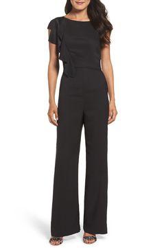 a41c45e6 New Eliza J Ruffle Sleeve Crepe Jumpsuit, Navy fashion dress online. [$98.9]