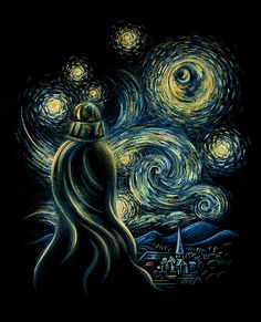 "(Darth Vader's) Starry Night by Enkel Dika based on Van Gogh's ""Starry Night"""