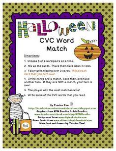 Halloween CVC Word Match FREEBIE!