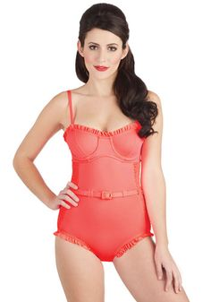 Coral Gables Days One-Piece Swimsuit. Sun and sand signal bright days and warm nights, and this retro swimsuit by Wet Swimwear is ideal for your beautiful beach getaway. Retro Swimwear, One Piece Swimwear, One Piece Swimsuit, Vintage Bathing Suits, Cute Bathing Suits, Cute Swimsuits, Beachwear For Women, Bathing Beauties, Modcloth
