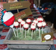 Fishing bob cake pops for a clever camping kids birthday party!