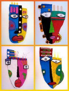 kbizm art a la manera de Kimmy Cantrell Projects For Kids, Art Projects, Crafts For Kids, Arts And Crafts, Kunst Picasso, Picasso Art, Painting For Kids, Art For Kids, Pintura Tribal