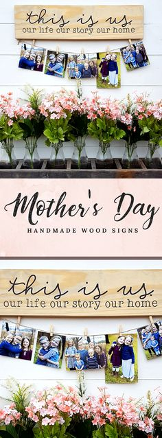 Lovely #mothersday wooden farmhouse signs! A perfect gift for Mom's and their special day! I love the #thisisus sign, it is so beautiful! Hanging family pictures on this ... oh my goodness, perfection. :):) #farmhousesigns #diysigns #farmhousedecor #giftideas #familysign #walldecor #wallgallery #afflink