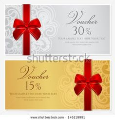 Voucher Template With Floral Pattern Border Red And Gold Bow