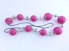 Fuschia necklace crochet bead necklace by HanoverMerryMakers, £11.95