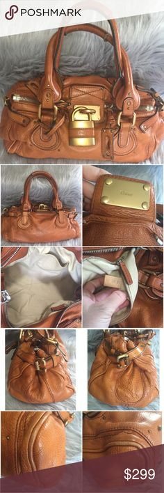 Authentic Chloe Paddington bag Very good preowned condition. Clean interior. Minor imperfections, some light rubbing on corners. Comes with Lock and key. No dust bag. Brown/camel color Chloe Bags Shoulder Bags