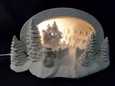 Hershey Mold- Christmas Winter Snowman Scene-LIGHT-Ready to Paint Ceramic Bisque