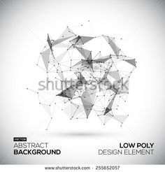 Abstract low poly geometric technology vector design element. Connection structure. Vector data science background. Polygonal vector background. Molecule And Communication Background.