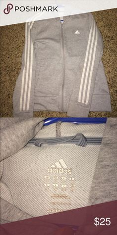 Grey Adidas Zip up jacket Grey Adidas zip up logo jacket (used) in good condition firm on price Adidas Jackets & Coats
