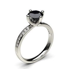 Crismas Collesion 0.58 tcw round cut 4 Prong Black Diamond Solid 14 k White gold Engagement Ring