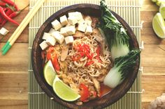 Thai Red Curry Ramen is easy, healthy and will become a new family favorite. Shiitake mushrooms give this healthy soup a real umami flavor boost. A vegan-friendly recipe that is packed with protein and Asian-inspired flavors. Ramen Recipes, Chef Recipes, Raw Food Recipes, Asian Recipes, Vegetarian Recipes, Cooking Recipes, Healthy Recipes, Ethnic Recipes, Vegan Ramen