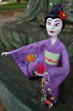 GEISHA - Paper mache doll