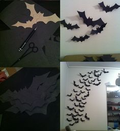 Bats, very scary wall. took a while to clip all the bats, but this look soooo nice!!!!    #bats #Wall #Halloween #scary #DIY #craft #Holiday #NICE