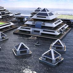 Architect Pierpaolo Lazzarini is trying to crowdfund the creation of a self-sufficient floating city-hotel of modular pyramids. Floating Architecture, Futuristic Architecture, Concept Architecture, Facade Architecture, Sustainable Architecture, Architecture Minecraft, Pyramid House, Modern Skyscrapers, Floating House