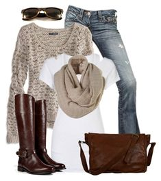 Sweater and Scarf by wishlist123 on Polyvore featuring polyvore fashion style American Eagle Outfitters True Religion Burberry VIPARO women's clothing women's fashion women female woman misses juniors