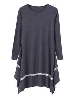 Casual solid long sleeve loose irregular hem women dress casual dresses just above the knee #casual #dresses #canada #casual #dresses #ireland #casual #dresses #revolve #maria #b #casual #dresses #2014