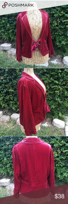 "The Limited Red Velvet Velour Jacket Coat Blazer Beautiful luxe red crushed velvet Velour jacket. Fully lined. Ribbon tie front. Collared. Soft and comfortable. Medium. True to size. Shoulder to shoulder straight across measures 16.5"". Great addition to any wardrobe! Originally $110! The Limited Jackets & Coats"
