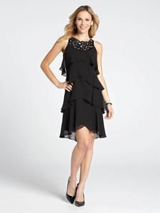 beaded neck tiered dress, petite or plus.  www.laura.ca