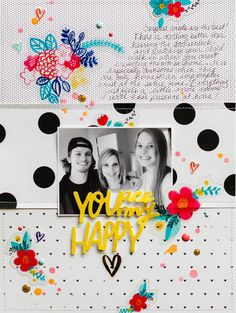 Colorful and fun details from Amy Tangerine's Better Together layered with black and white photos!