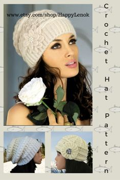 88d8c2db Hat Patterns Crochet Beanie Easy Crochet Hat Pattern Slouchy Hat Crochet  for women Beanie Cool Winter Hats Patterns How to crochet a hat