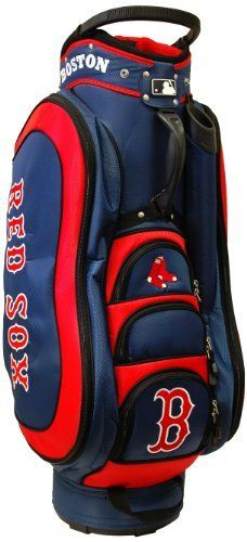 MLB Boston Red Sox Medalist Cart Bag, Navy by Team Golf. $149.99. External putter well and 3 lift assist handles. Padded strap with strap pouch and fleece-lined valuables pouch. 8 location embroidery and 5 zippered pockets. 50% nylon/50% plastic. Removable rain hood and umbrella holder and towel ring. Integrated top handle and 14-way full length dividers. This bag is loaded with features, including integrated top handle, 14-way full length dividers, 8 location embroidery, ...