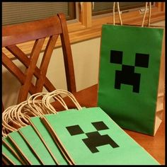 Super easy (and cheap!) DIY paper Creeper treat bags for a Minecraft kinda birthday party :)
