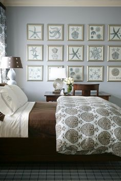 Coastal smokey blue & chocolate brown bedroom. Vintage nautical print gallery wall with metallic silver frames. Love the mix of the white & brown Moroccan print duvet with the more traditional plaid rug. By designer Tobi Fairley.