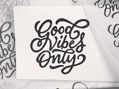 Good vibes only -lettering. Sketched with brush pen and pencil. Vectorized version in the middle. This could fit on a t-shirt.. I don't know let's see. http://instagram.com/p/ycHhPhoFSs/