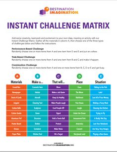 INSTANT CHALLENGE MATRIX! Add some creativity, teamwork and excitement to your next class, meeting or activity with our  Instant Challenge Matrix. Gather all the materials in column A, then choose one of the three types of challenges below and follow the instructions.