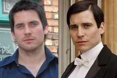Rob James-Collier as Thomas Barrow on Downton Abbey    As first footman of Downton Abbey and later World War I medic, Thomas provides a Machiavellian villain on the show. Already known to British audiences from his TV work—most notably as Liam Connor on Coronation Street (2005-2006)—the former model landed his first role on TV with no acting experience. Rumor has it that on season 3 (I'm sorry, series 3), Thomas finally gets his long-coveted promotion to valet.