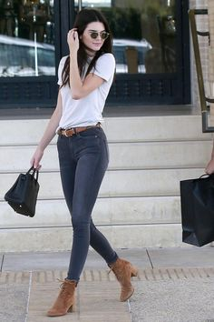 Kendall Jenner wearing Ahlem Eyewear Bastille Sunglasses in Rose Gold Brushed, Gianvito Rossi Cassell Suede Lace-Up Ankle Boot in Luggage, Hermes Birkin Bag and Citizens of Humanity Rocket High Rise Jeans in Decibel