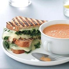 Grilled Cheese-and-Kale Sandwiches with Tomato Soup yum. Made with spinach instead of kale. Easy lunch or dinner!