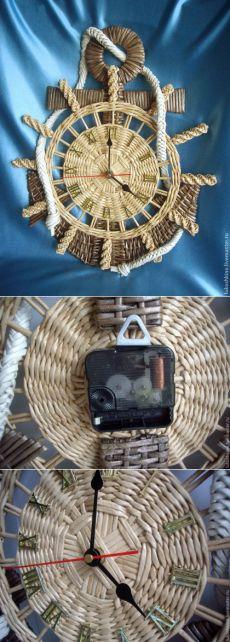 Купить Часы Якорь - бежевый, часы, часы настенные, якорь, штурвал, подарок, подарок моряку