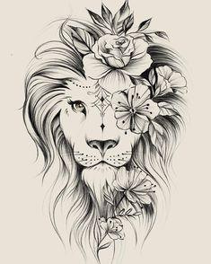 Image could contain: drawing – flower tattoos – best tattoo – flower tattoos designs - tatoo feminina Leo Tattoos, Bild Tattoos, Cute Tattoos, Beautiful Tattoos, Body Art Tattoos, Tattoos For Guys, Tatoos, Awesome Tattoos, Portrait Tattoos