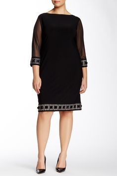 This Sheer Sleeve Beaded Trim Dress is so chic.