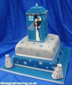TARDIS wedding cake.  it's possible.  as long as i find a bigger DW fan (not likely :)