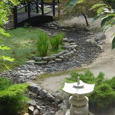 japanese garden design principles - Google Search - dry stream bed, with elevated large stones at inside curves.