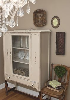 General Finishes Linen China Cabinet 1930s.  Like mine.  Not sure about leaving the legs stained - it is different, though.