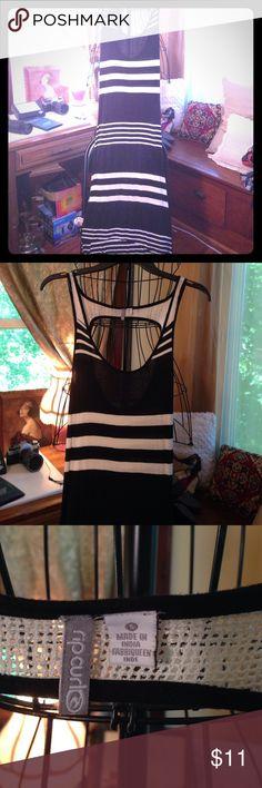 Hi Low Maxi Dress Black/White Striped Hi Low Maxi Tank Dress Ripcurl Dresses High Low