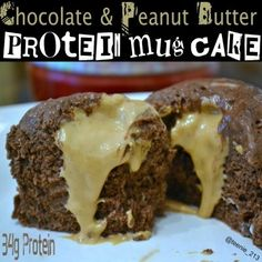 Ripped Recipes - Chocolate & Peanut Butter Protein Mug Cake - When dessert cravings happen, this clean and yummy dessert will satisfy anyone's sweet tooth.- not quest brand, but protein. Use almond butter instead. Healthy Deserts, Healthy Sweets, Healthy Snacks, Protein Deserts, Healthy Eating, Mug Recipes, Snack Recipes, Cooking Recipes, Cooking Tips