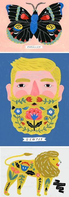 Sarah Walsh 'Folk Science'   illustration   folk-inspired art   folk illustration