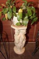 """22"""" Cherub Motif Plant Stand with Potted Plant"""