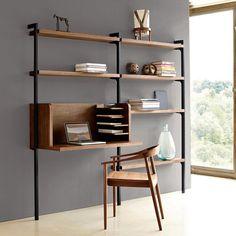 Módulo escritorio Taktik, chapado de nogal, para sistema de almacenaje AM.PM. | La Redoute Mobile