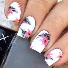 White Flower Nail Art Design