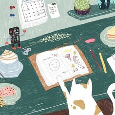 Illustration by @rickyleungart #illustration #desk #cat #design #ohhdeer #creative #artists #illustrators